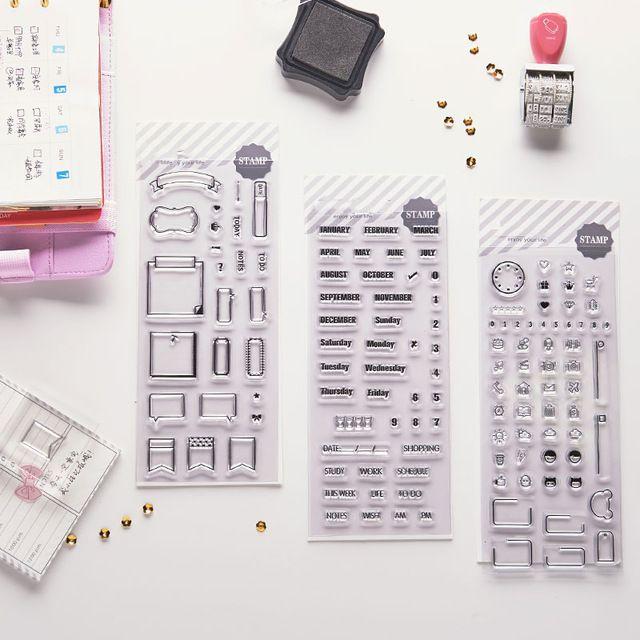 Dokibook Creatieve Transparante Stempel Plakboek Dag Planner Agenda Dagboek Notebook DIY Stempel Tool Leuke Gift Beloningen Briefpapier
