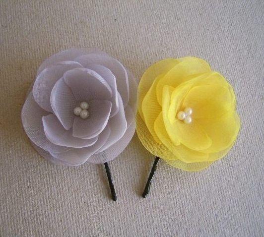 2 Light Grey Yellow Hair Flowers Yellow Grey by HairFlowersAtelier, $18.00