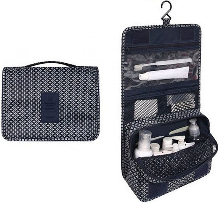 Itraveller Portable Hanging Toiletry Bag/ Portable Travel Organizer Cosmetic Bag for Women Makeup or Men Shaving Kit with Hanging Hook for vacation (Blue)