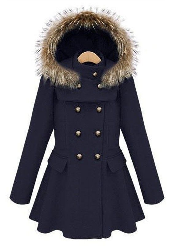 Navy Blue Buttons Pleated Band Collar Wool Coat the hood is removable!!