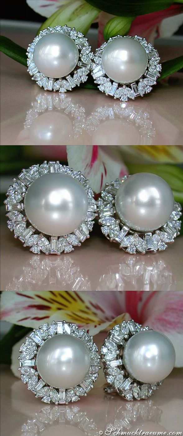 Terrific Southsea Pearl Studs With Brilliant, Baguette & Marquise Diamonds…