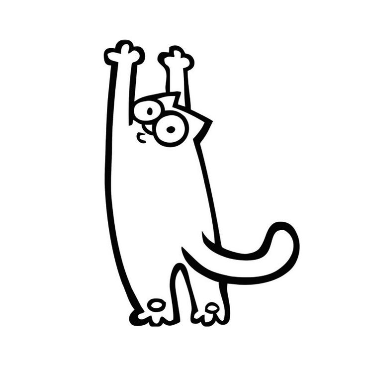 Чб картинки для распечатки кот саймон