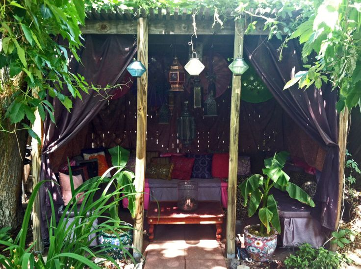 DIY Exotic Asian-Moroccan Gazebo Restyle with Thrift Store Finds