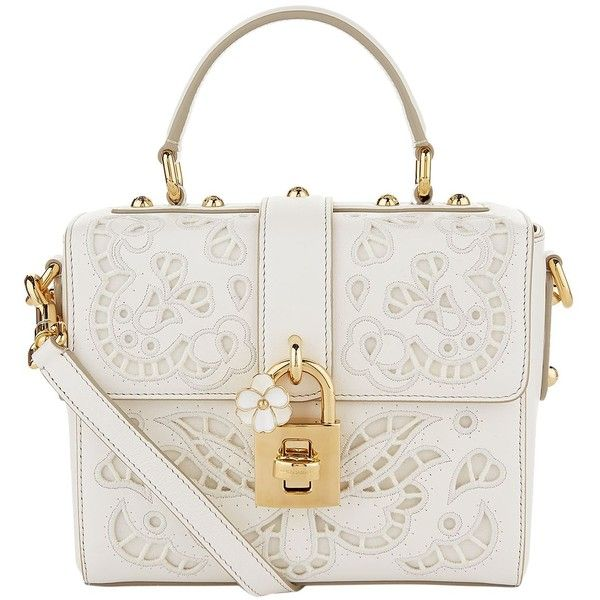 Dolce & Gabbana Lace Padlock Nappa Leather Top Handle Bag (€2.620) ❤ liked on Polyvore featuring bags, handbags, white purse, handle bag, top handle leather handbags, embroidered purse and top handle handbags