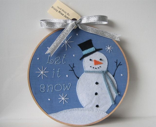 Mr Jack Frost Christmas Hand Stitched Embroidery Hoop Art by Dizzy Miss James