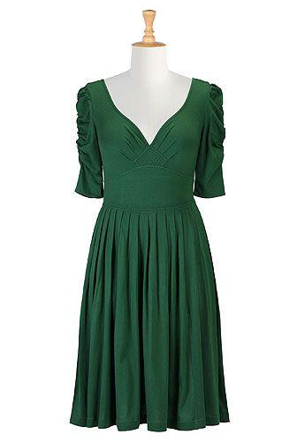 I <3 this Green goddess knit dress from eShakti