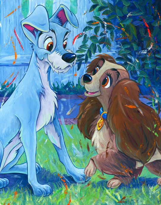 "William Silvers ""Puppy Love"" - interpretive Disney artwork from Lady and the Tramp. So colorful! Fits perfectly in a kid's play room or family room. Get your paws on one at artinsights.com!"