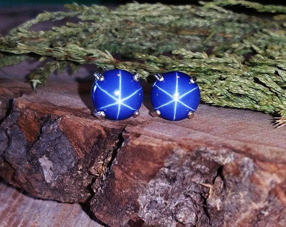 Finished Earrings 7-12 Ct, genuine Star Sapphire Gemstone 925 Sterling Silver #Gem_hub #Stud