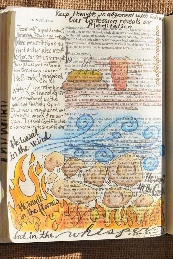 1 Kings 19, October 12, 2015 Sermon notes carol@belleauway.com, colored pencil, bible art journaling, journaling bible, illustrated faith