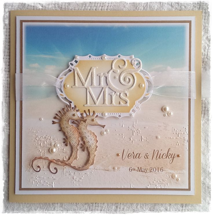 a seaside themed wedding card and the seahorses are inked and glittered die cuts - dies from Joanna Sheen http://www.joannasheen.com/craft-supplies/signature-dies-by-joanna-sheen/animals-and-wildlife/signature-dies-sammy-seahorse-sd365/