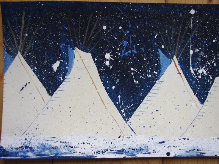 Tepee art based on Montana Native American artist Kevin RedStar. One of my favorite artists to teach about.