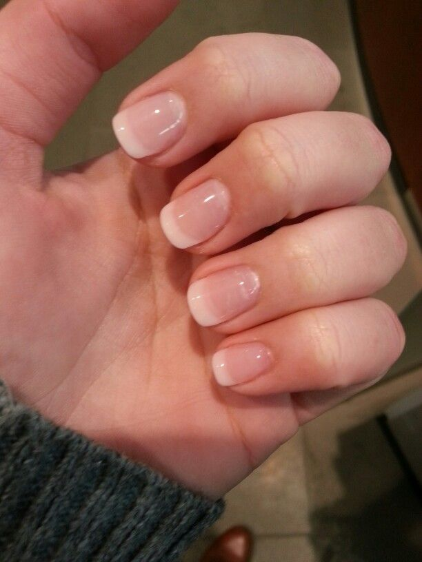My Gel Manicure with White Tip and half round ends | nails ...
