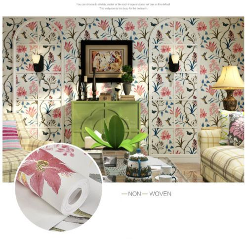 10M Bedroom Wall Covering Modern Vintage Pink Floral Wallpaper Birds Flower Wall