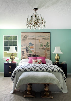 Great colors/design combination for the bedroomGuest Room, Dreams Bedrooms, Bedrooms Design, Interiors Design, Master Bedrooms, Dreams Room, Bedrooms Decor Ideas, Green Room, Accent Wall