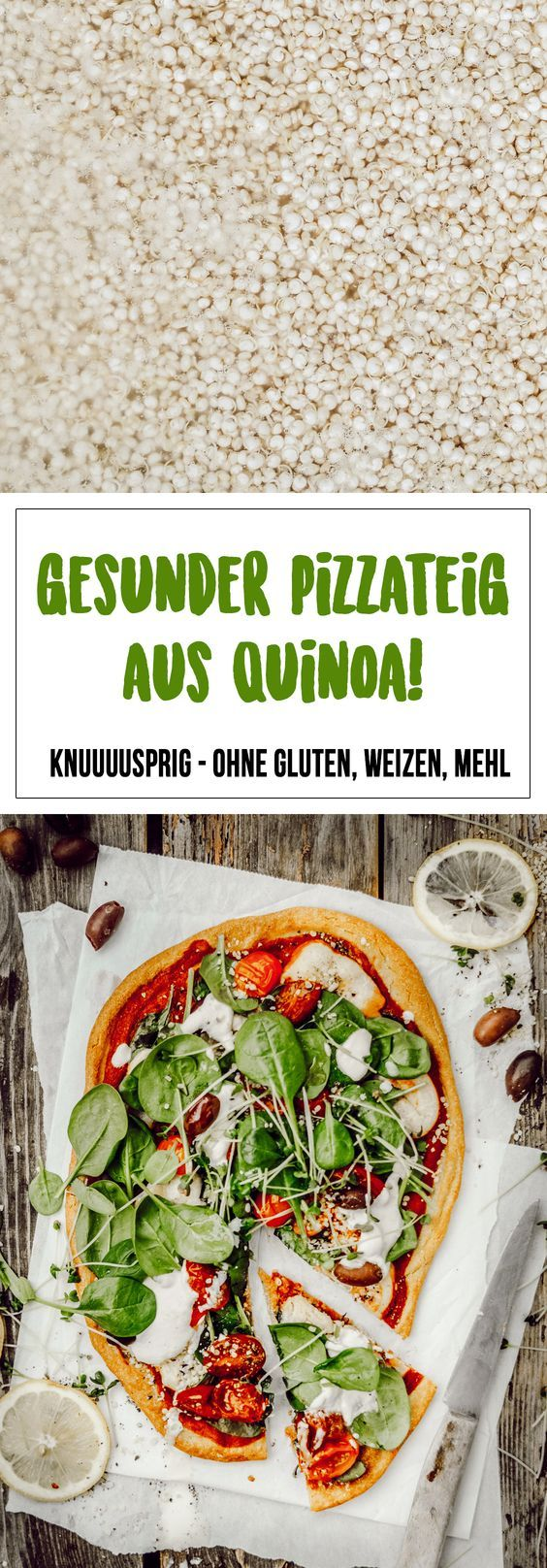 Pizza de quinoa sem glúten com espinafre, creme de caju, azeitona e tomate  – Kochen