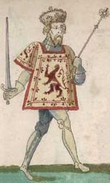 Robert II (1316 - 1390). King of Scotland from 1371 to his death in 1390. He was a grandson of Robert the Bruce. He spent most of his reign fighting against the English. He married twice and had children with both wives.