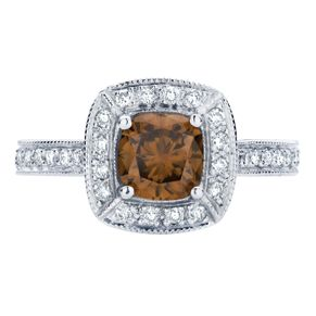 Stunning cognac diamond surrounded by a halo of white diamonds.