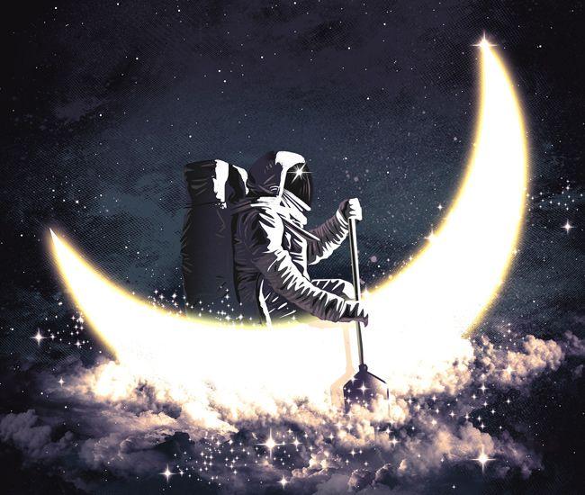 Imagem da ilustração Moon Boat por Elijah Fajardo