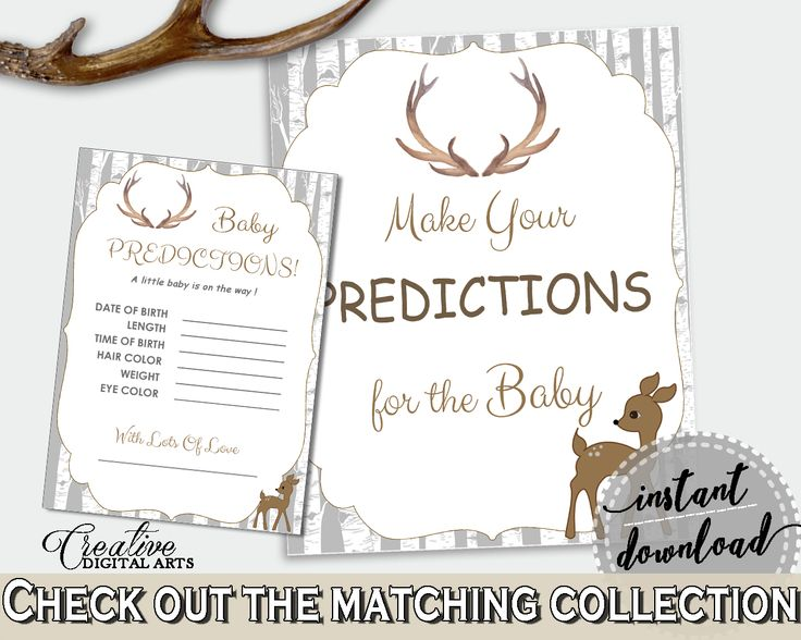 Baby Predictions Baby Shower Baby Predictions Deer Baby Shower Baby Predictions Baby Shower Deer Baby Predictions Gray Brown prints Z20R3 #babyshowergames #babyshower