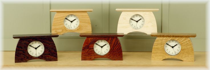 Arts and Crafts Mantel Clocks by Schlabaugh & Sons. 7.5w x 4.5h x 2d  Available in solid cherry, solid maple or quartersawn white oak with 3 finishes:  slate, craftsman oak and nut brown oak.