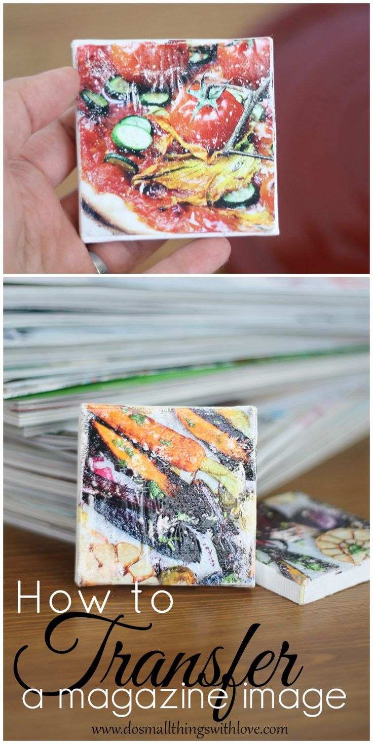 full tutorial for transferring an image from a magazine onto a canvas.  Easy way to make art!