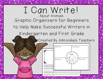 36 Animal Graphic Oraganizers and Sentence Starter Templates to use to teach Beginning Writing for K and 1st Grade   Easy Print and go! Your ready to teach!   This product includes a step by step lesson plan to introduce your young learners to the writing process.  This product gives you many options to differentiate your instruction to meet each of your students needs. All Zoo Phonics animals are included.