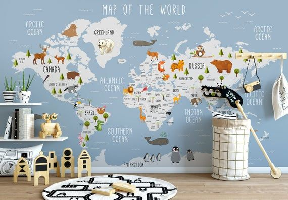 Self Adhesive Peel And Stick Kids World Map Carte Amovable Map Etsy World Map Wall Decal Map Wall Decal Kids World Map
