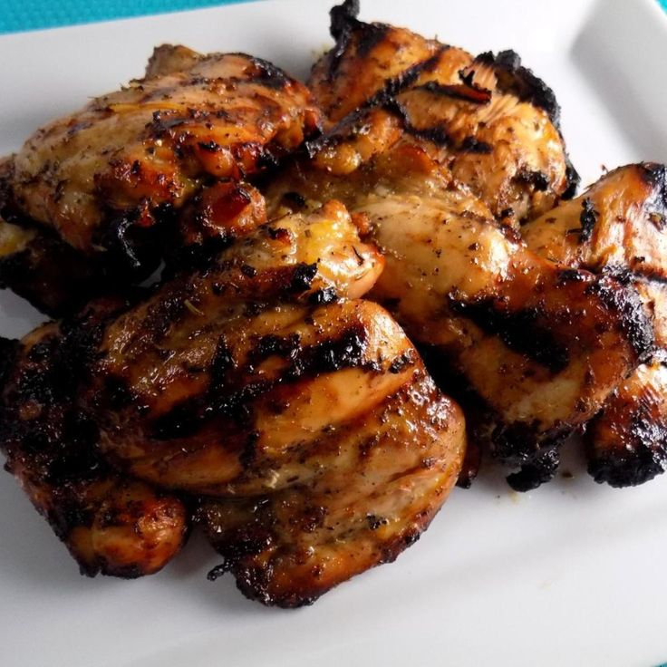 """The crew and I really enjoyed these juicy grilled chicken thighs. If you're not familiar with Herbs de Provence it's a collection of spices like marjoram, rosemary, thyme, lavender and other herbs. It adds a subtle earthy taste to the grilled chicken. The balsamic gives them a nice tang. A great recipe for grilling season!"""