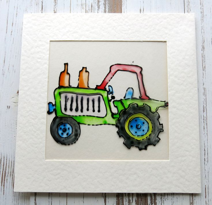 greeting card - masculine card - birthday card - blank card  - glass painted card - cards for men - tractor card - uk seller by itsaMessyNest on Etsy