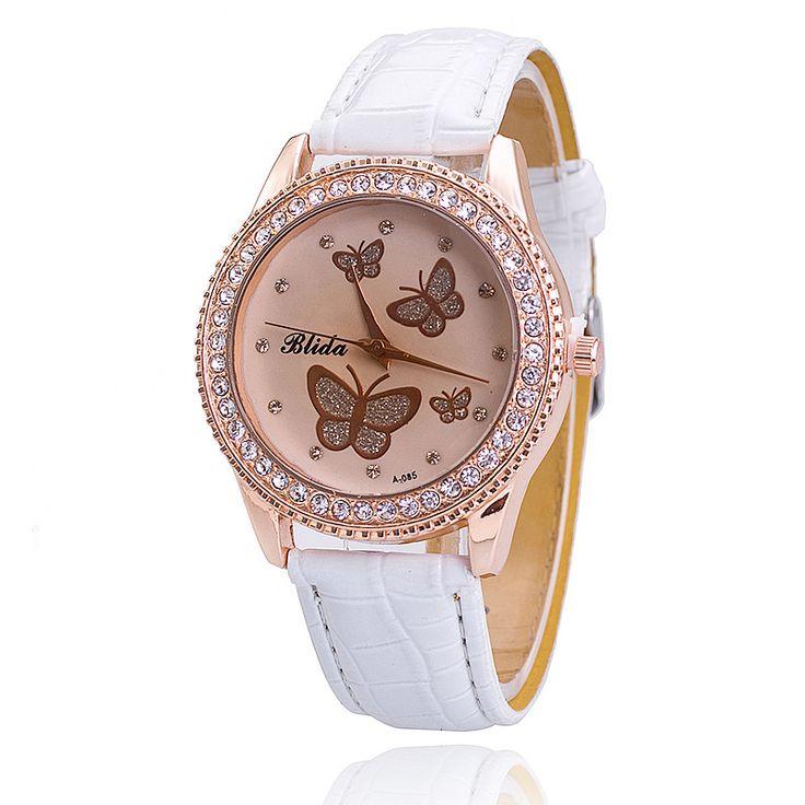10 colors Diamond Shinning Colored Butterfly Woman PU leather Watch Dress Watch 1piece/lot