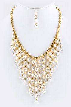 Last Piece :: Timeless Pearl Drop Necklace Earrings Set  - $21
