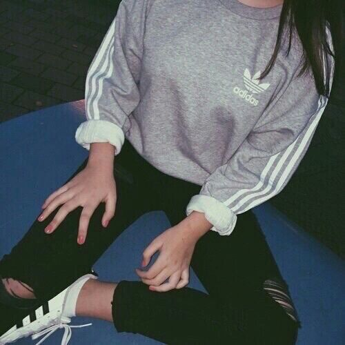 Grey Adidas sweater with ripped, black skinny jeans and Adidas Superstar #adidas #style #fashion
