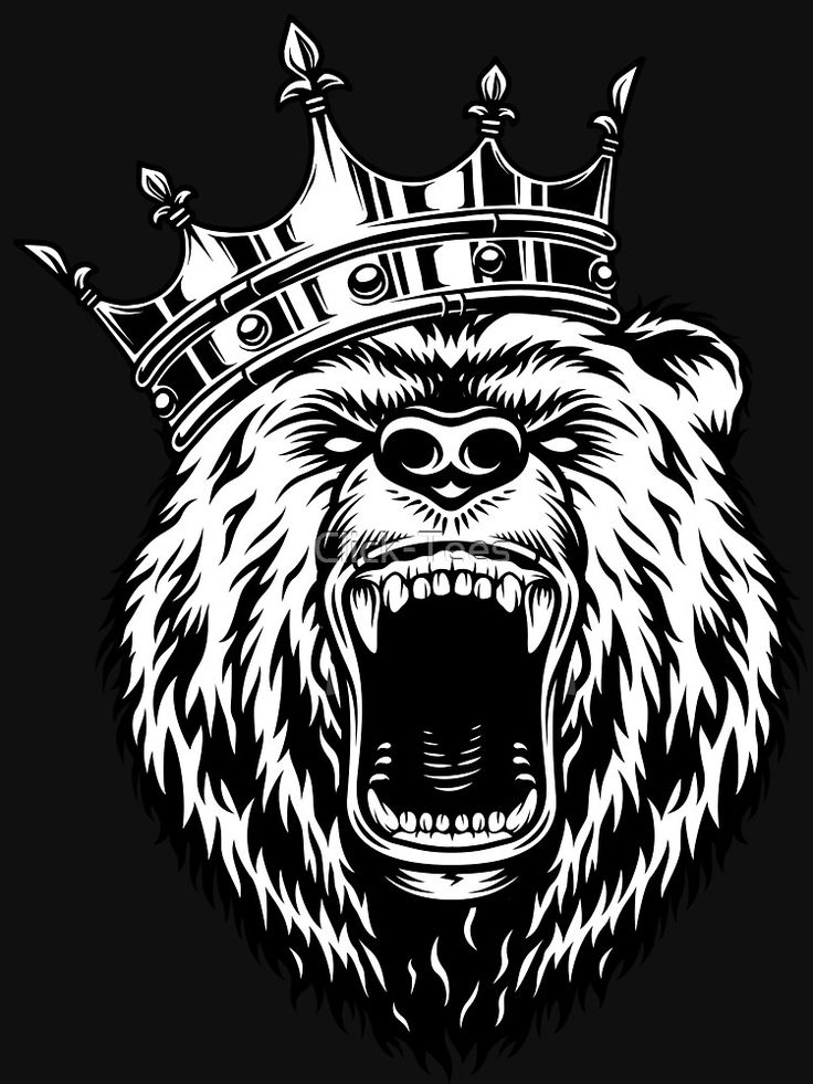 'Bear King - Bear wearing Crown' Essential T-Shirt by Click-Tees