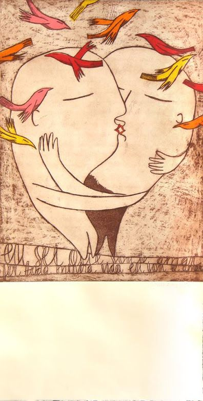 Brushstrokes in the world: passionate kisses of love: Illustrations by Marina Anaya / Apasionantes kisses love / Passionate kisses of love: Marina Anaya illustrations
