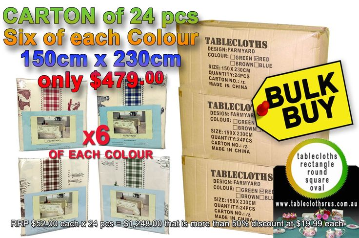 More products being entered on the website  Bulk Deal - Mixed... take a moment to check them out http://www.curtainsrus.com.au/products/bulk-deal-mixed-tablecloths-colours-farmyard-150cm-x-230cm?utm_campaign=social_autopilot&utm_source=pin&utm_medium=pin