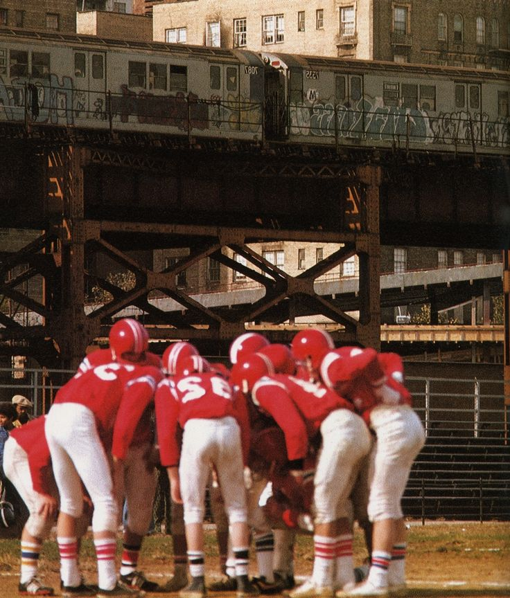 """Scanned from """"New York"""", photography by Bernard Hermann, text by Gilbert Millstein, 1977.    South Bronx Football-"""
