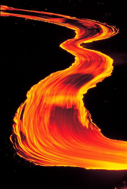 A lava river flows down Kilauea Volcano, Hawaii - US