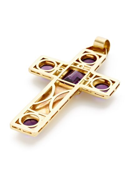 Ca. 1970's Amethyst & Gold Oversized Cross Pendant by Tara Compton at Gilt