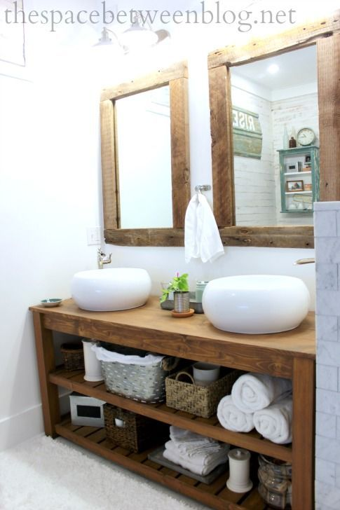 rustic bathroom, but with touches of modern... from blog The Space Between
