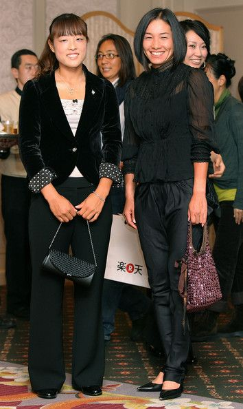 Ayumi Morita (left) and Kimiko Date Krumm of Japan pose as they attend a welcome reception on day two of the Rakuten Open Tennis tournament at Hotel Grand Pacific Le Daiba on October 6, 2009 in Tokyo, Japan. Kimiko made her return to the Women's Tennis tour the previous year at the age of 37.