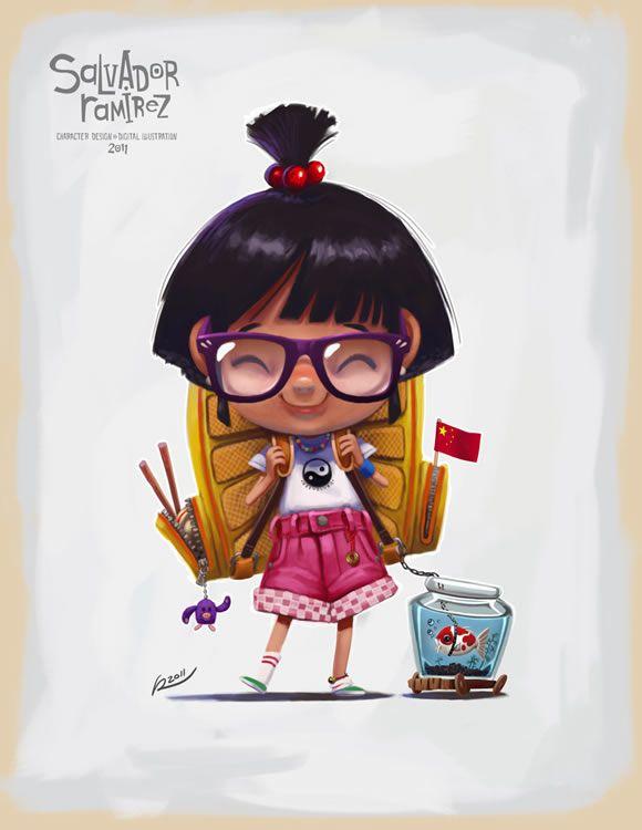Pequeña niña china ilustrada, sonriente, con muchos detalles. De Salvador Ramirez Madriz                                                                                                                                                                                 Más