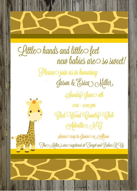 baby shower digital invitation giraffe invitation baby animal shower
