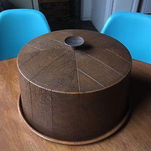 Mid Century Faux Wood Cake Carrier Vintage Kitchen  | eBay
