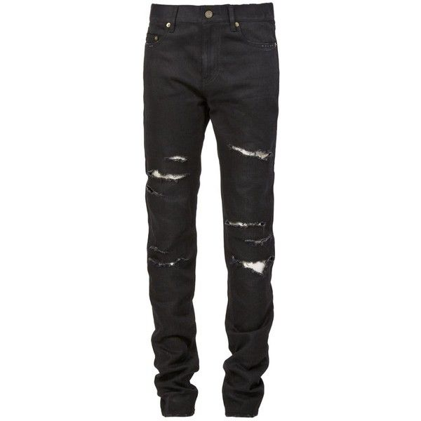 b23c352e Saint Laurent ripped jeans Vitkac ($850) ❤ liked on Polyvore featuring jeans,  men, black, destructed jeans, destroyed jeans, distressed jea…