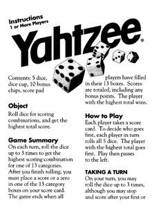 yahtzee rules printable - Google Search