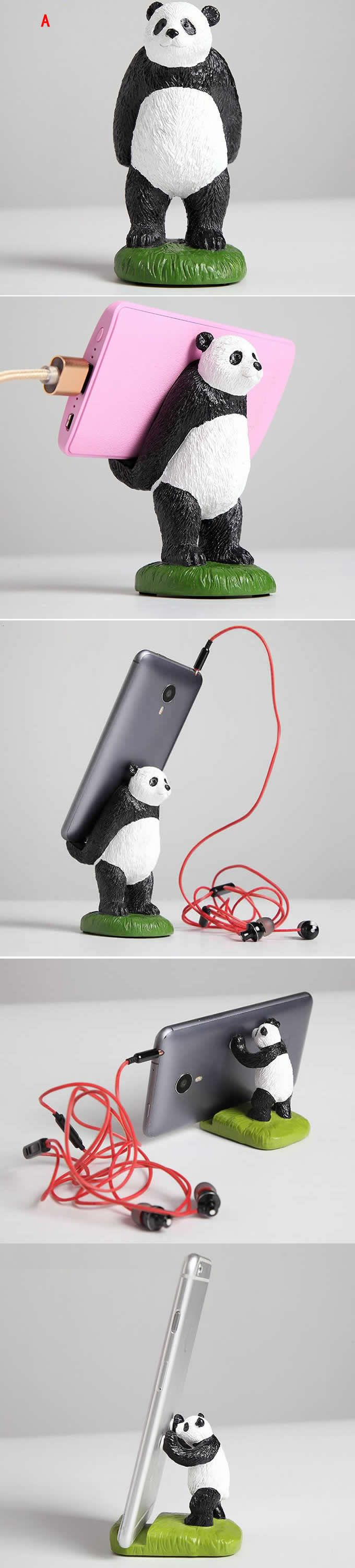 Panda Figurine Mobile Phone Holder Stand