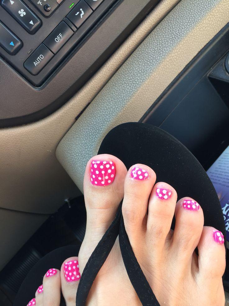 Love My Hot Pink Polka Dot Spring Toe Nails