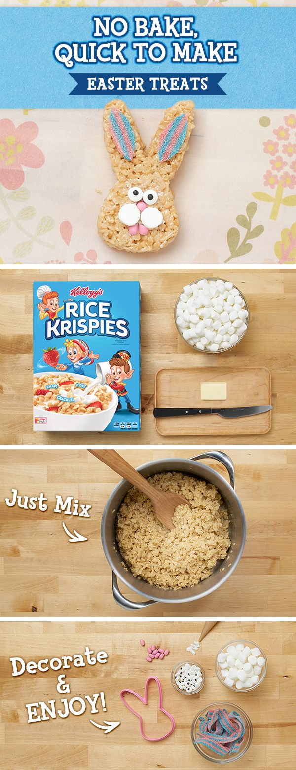 Skip the baking and get #treat making with your kids. All you need is a box of Rice Krispies, marshmallows, butter, and whatever decorations #spring to mind! #NoBake #Recipe #Easter #Bunnies