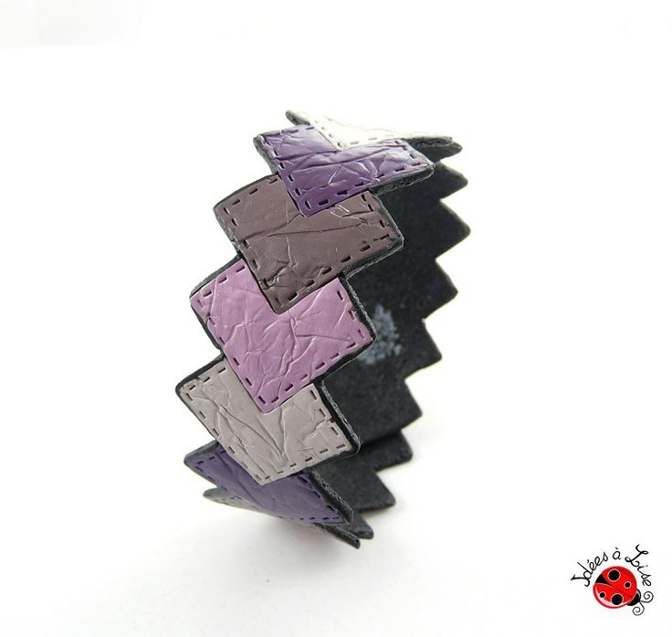 Bracelet graphique imitation cuir violet et noir personnalisable : Bracelet par ideesalise
