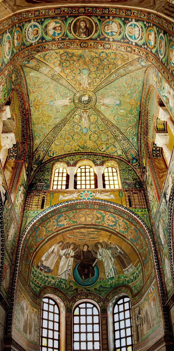 Basilica of San Vitale, Ravenna, Italy...........Fish above head